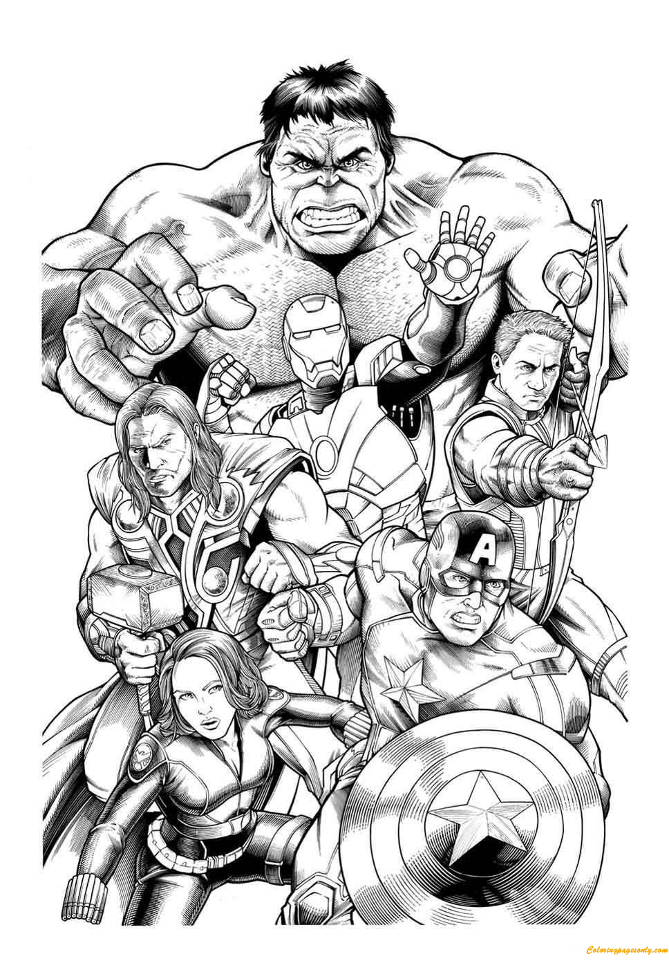 Team Members of Avengers Coloring Page - Free Coloring ...