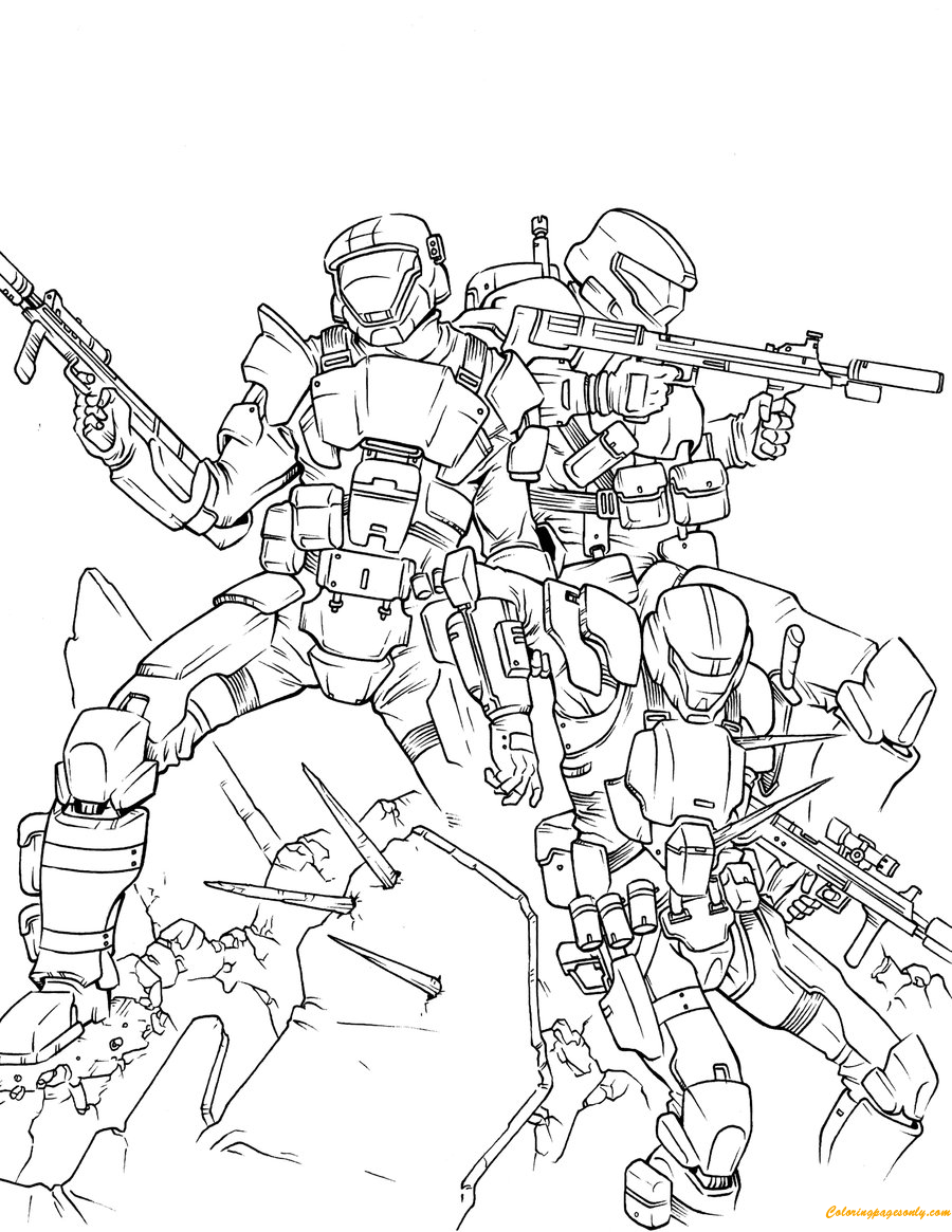 Team Of Halo Odst Coloring Page Free