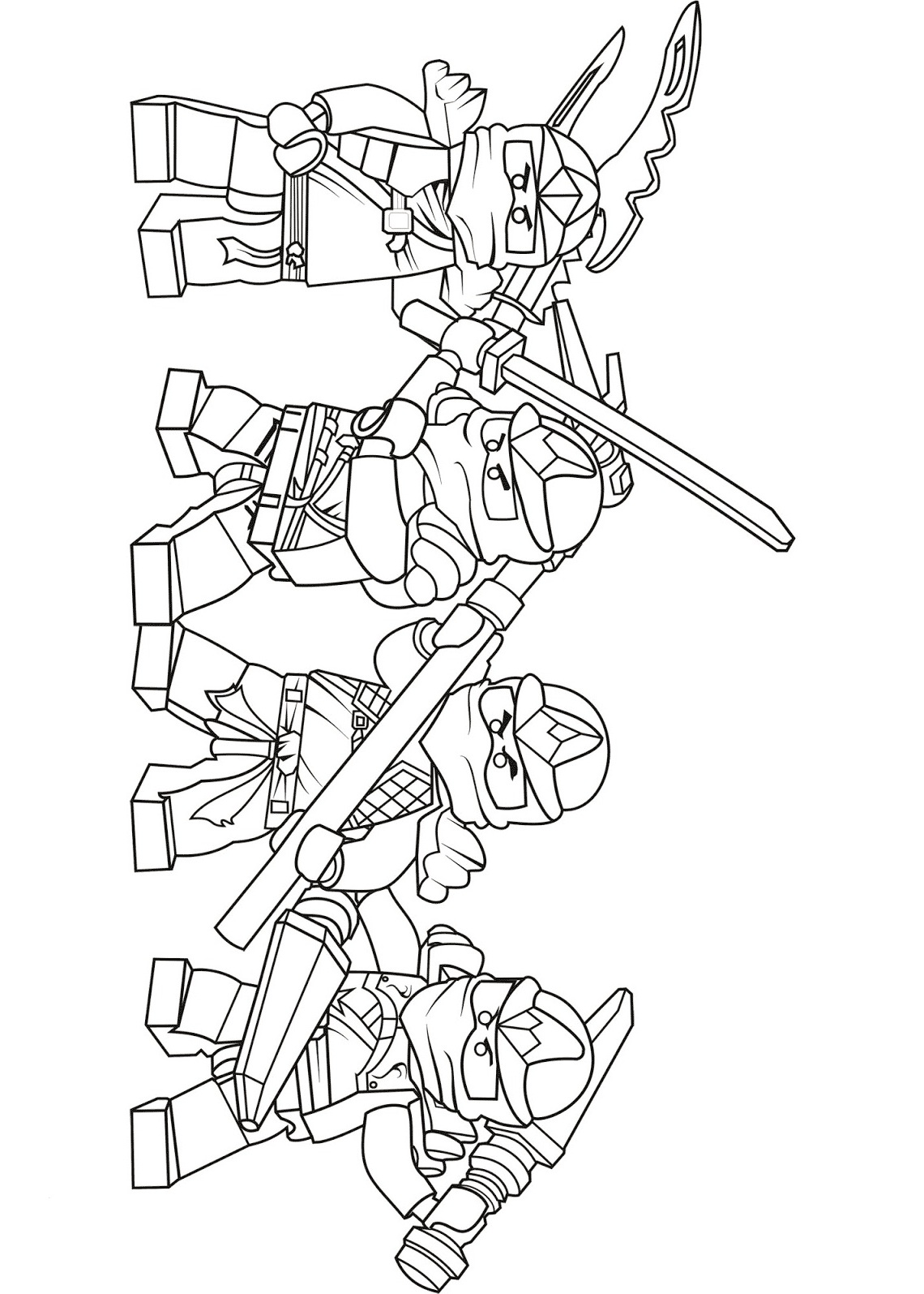 Team of Lego Ninjago ZX Coloring Page