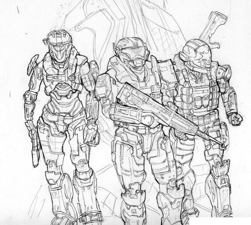 Teams of Halo Coloring Page