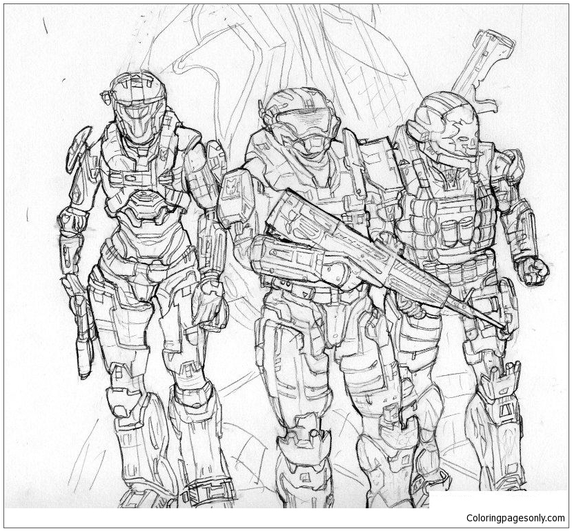 Teams Of Halo Coloring Page