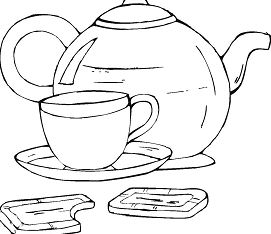 Teapot And Cup Of Tea With Cookies Coloring Page