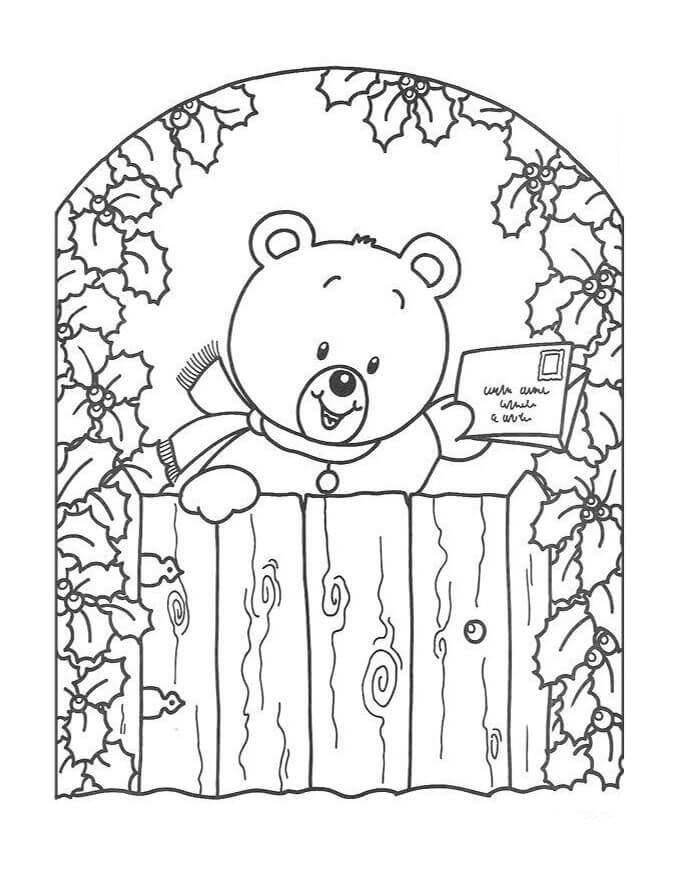 Teddy Bear Sending Christmas Card