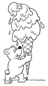 Teddy Bear With Ice Cream Coloring Page