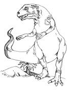 Teratosaurus Dinosaur standing up Coloring Page