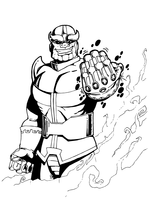 Superhero Thanos Coloring Pages: Team Members Of Avengers Coloring Page