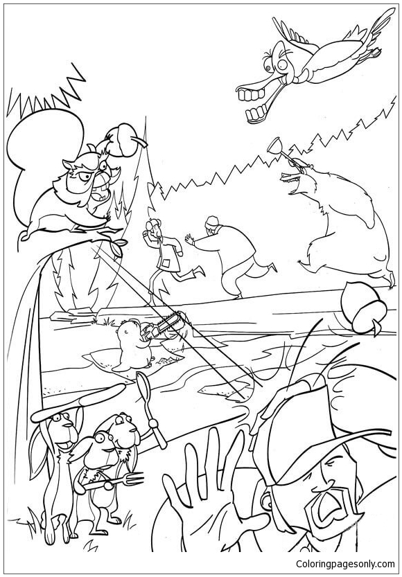 The Animal Chase Away The Hunter Coloring Page