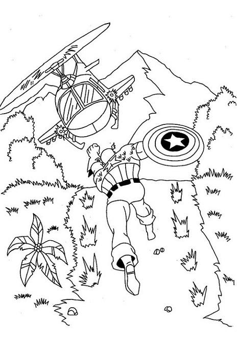 The Avengers Captain America Fighting with Helicopter Coloring Page