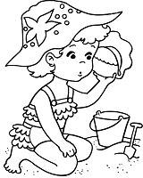 The baby is playing at the beach Coloring Page