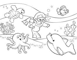 The Baby Is Playing In The Ocean Coloring Page