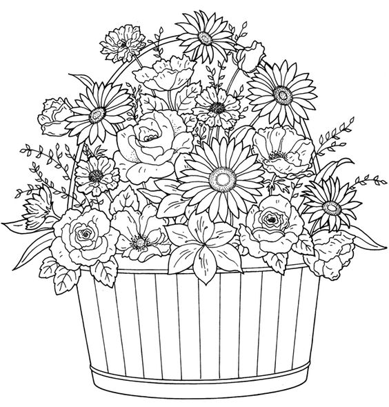 The Basket of Flowers Coloring Page