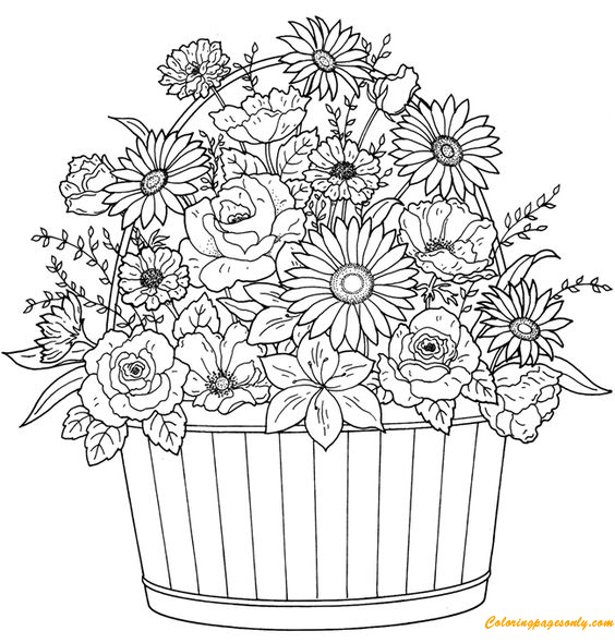 Easter Basket Coloring Pages | Free easter coloring pages, Easter ... | 590x564
