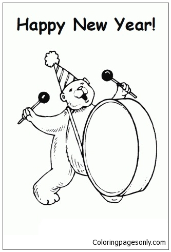 The Bear Banging The Big Drum To Bring In The New Year Coloring Page