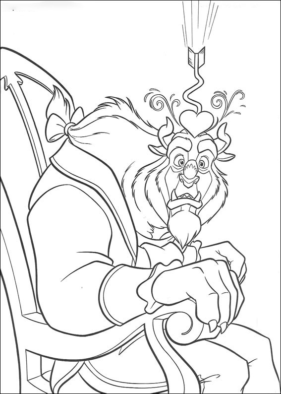 The Beast is sitting on chair Coloring Page