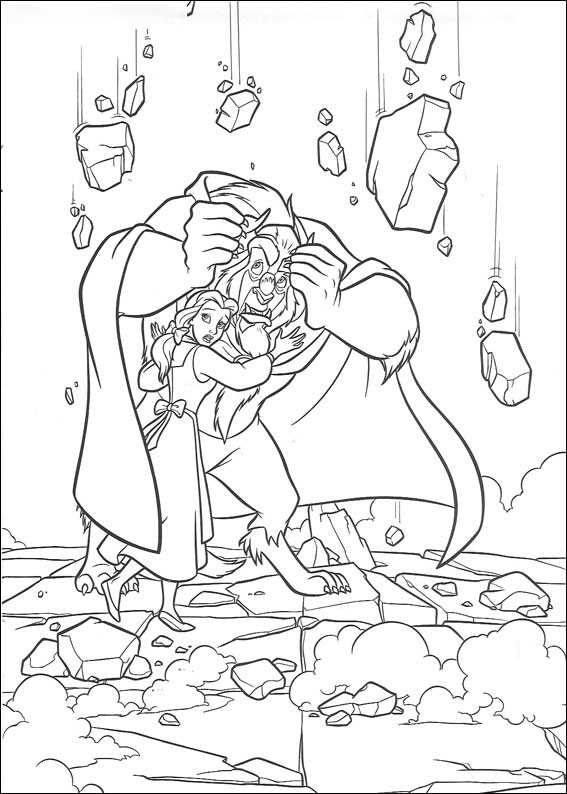 The Beast protects of Belle Coloring Page