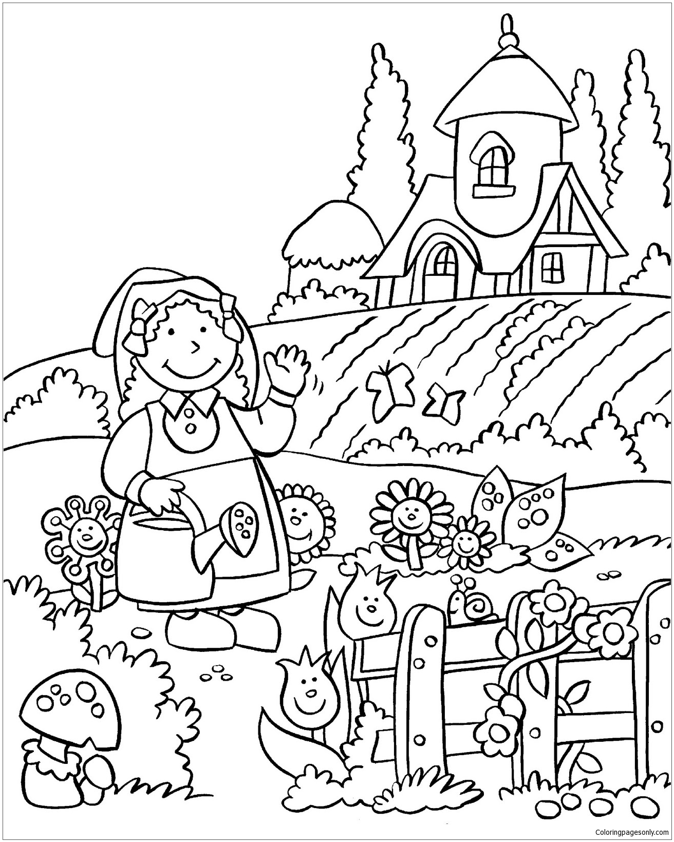 The Beautiful Flower Garden Coloring Page