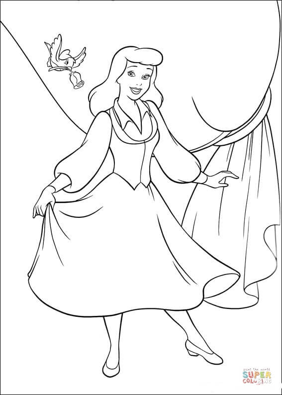 The Bird Wants To Give A Rose For Cinderella  From Cinderella Coloring Page