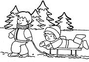 The boy and girl playing snow in the winter