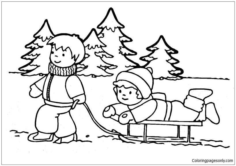 The boy and girl playing snow in the winter Coloring Page ...