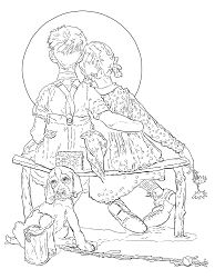 The boy and the girl are watching the Moon Coloring Page