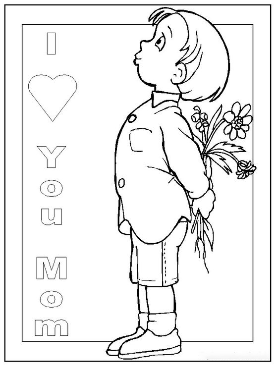 The boy gives his mom flowers Coloring Page