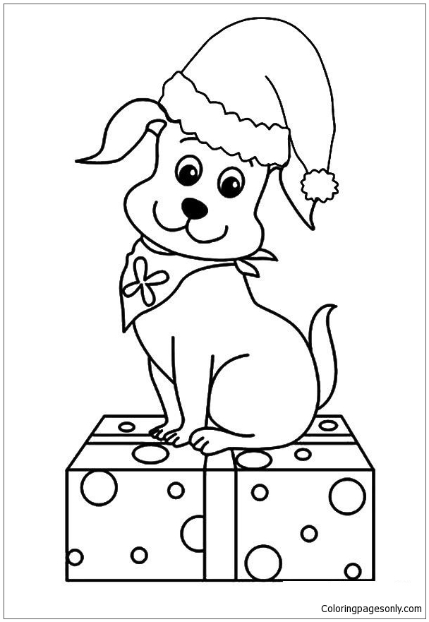 The Christmas Pup Puppy Coloring Page