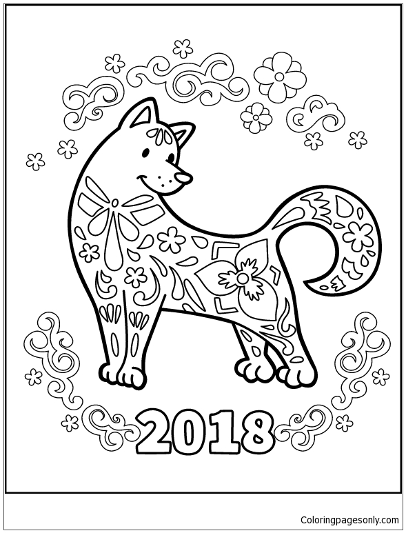 The Dog Celebrates The Chinese New Year Coloring Page