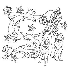 The Dog Sled Coloring Page