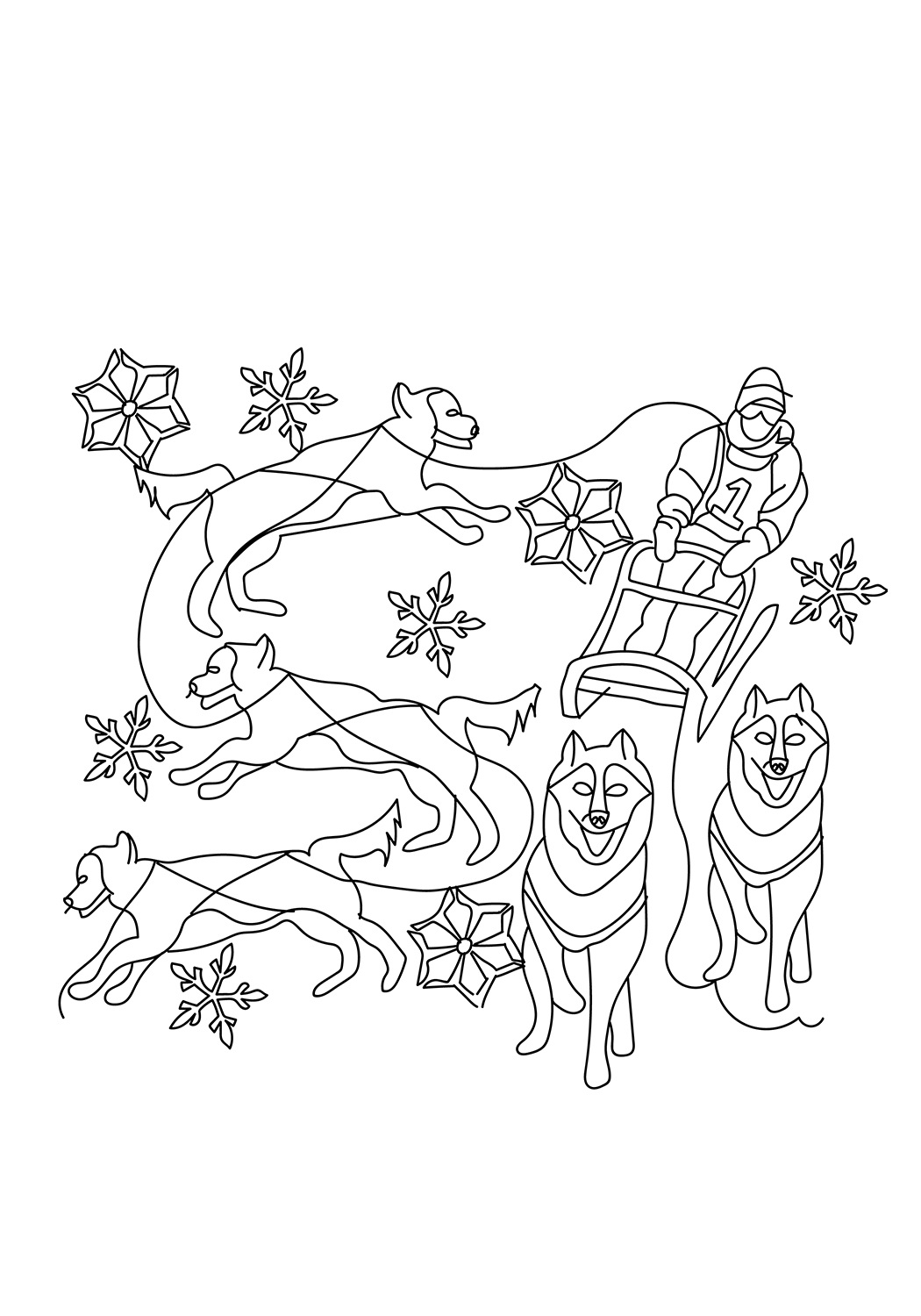 The Dog Sled Coloring Page Free