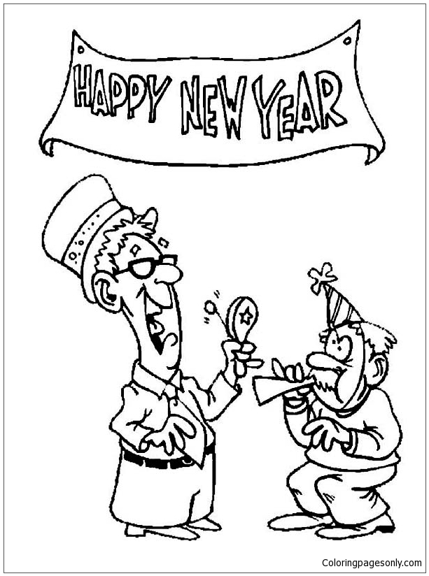 The Elderly Celebrating New Year  Coloring Page