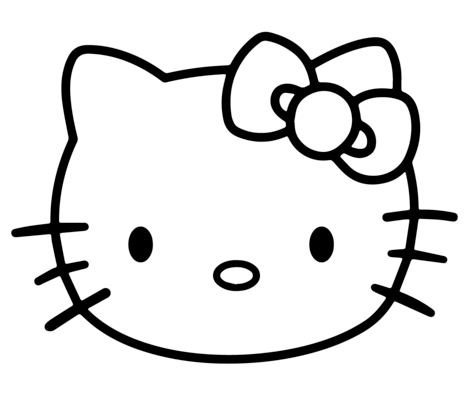 The Face Of Hello Kitty Coloring Page
