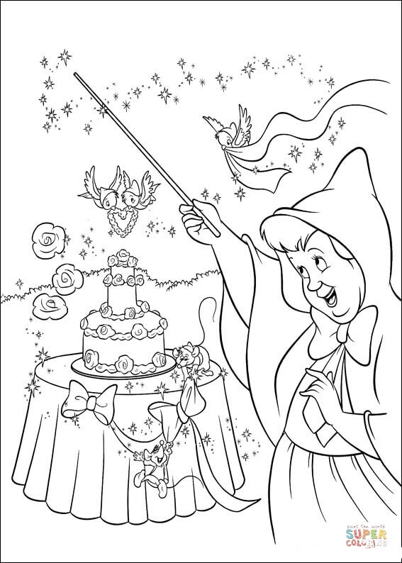 The Fairy Makes A Wedding Cake  From Cinderella Coloring Page