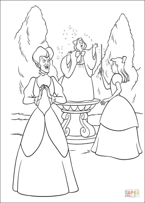 The Fairy Sing A Song For Cinderella  From Cinderella Coloring Page