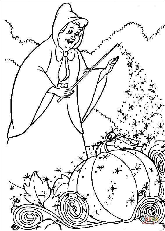 The Fairy Want To Help Cinderella To Make Her Cart  From Cinderella Coloring Page