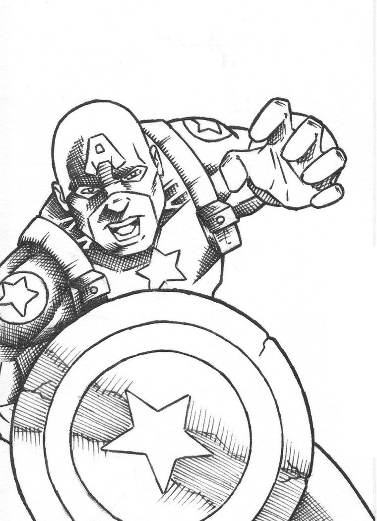 The First Avenger Captain America Coloring Page