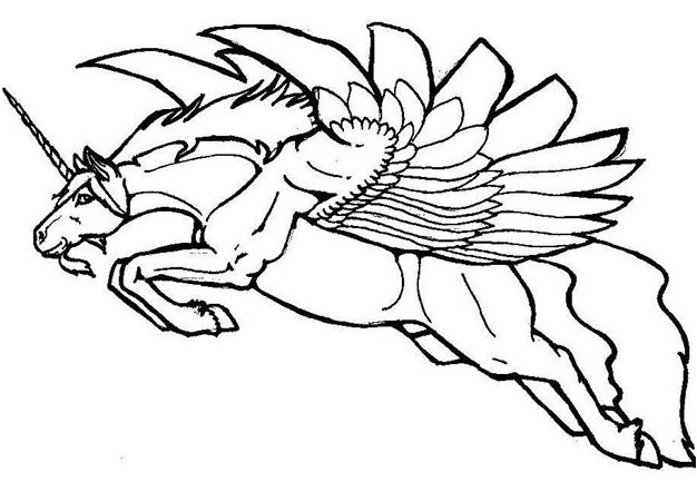 The Flying Unicorn Coloring Page