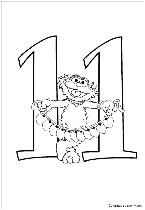 The Funny Number 11 Coloring Pages - Numbers Coloring ...