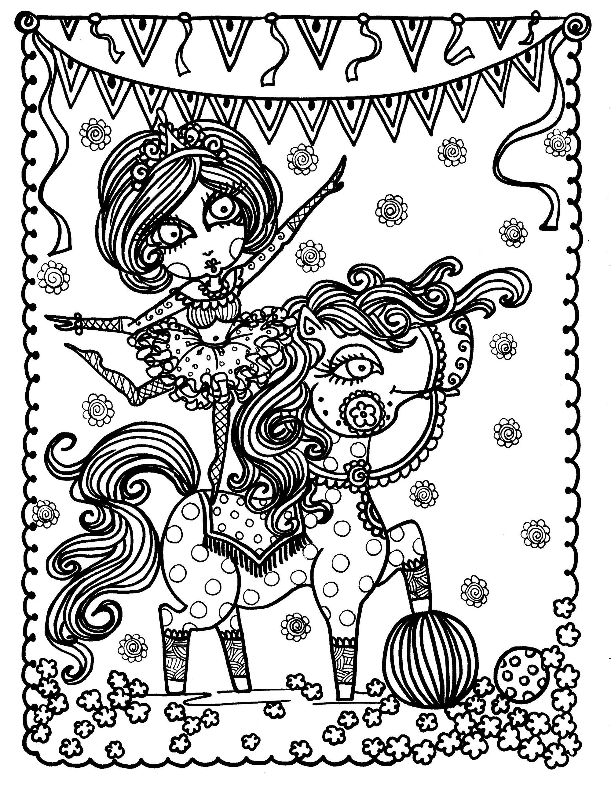 The Girl And Horse Circus Show Coloring Page