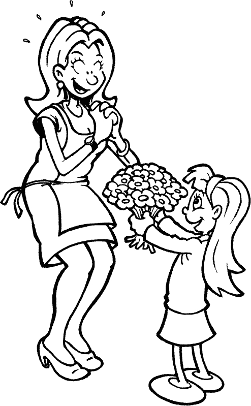 The girl gives her mom flowers Coloring Page