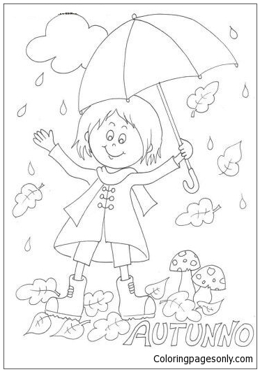 The Girl Under The Umbrella In The Rain Coloring Page
