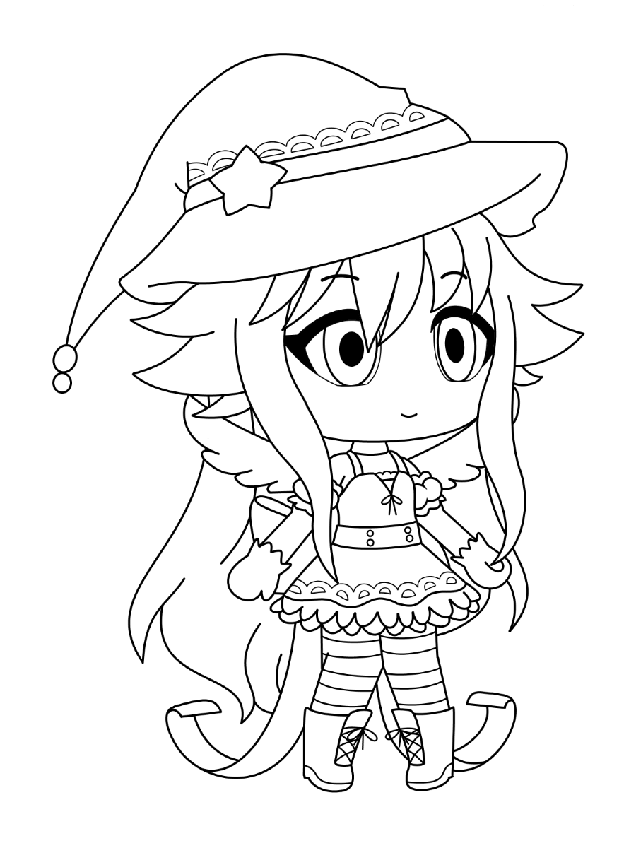 The girl wears wizard dress Coloring Page