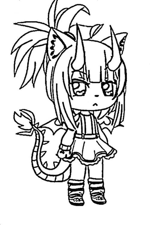 The girl with a pair of horns and a dragon tail Coloring Page