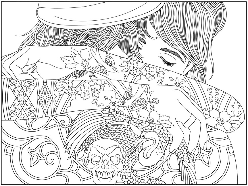 The Girl with the Tattoo Coloring Page