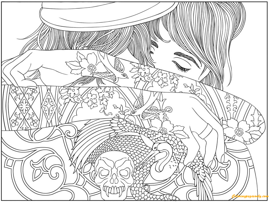 The Girl With The Tattoo Coloring Page Free Coloring