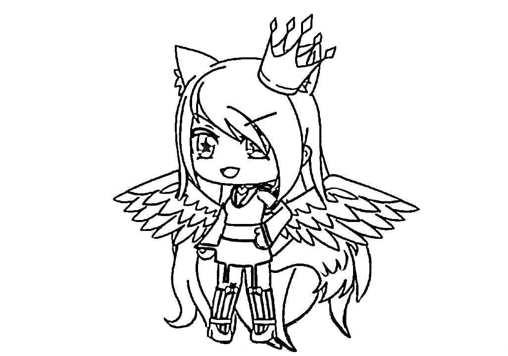 The girl with wings and crown Coloring Page