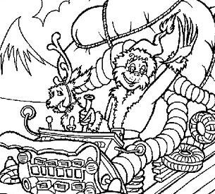 The Grinch steals Christmas gifts Coloring Page