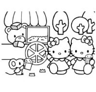 The Hello Kitty Eating Popcorn Coloring Page