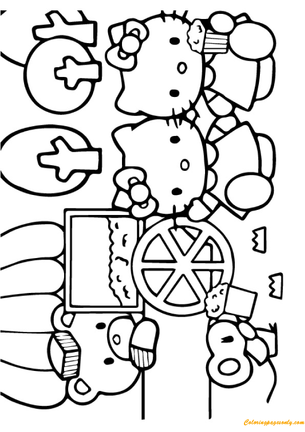 The Hello Kitty Eating Popcorn Coloring Pages Cartoons Coloring Pages Free Printable Coloring Pages Online