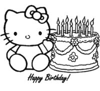 The Hello Kitty Happy Birthday Coloring Page