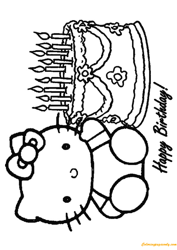 The Hello Kitty Happy Birthday Coloring Page Free Coloring Pages